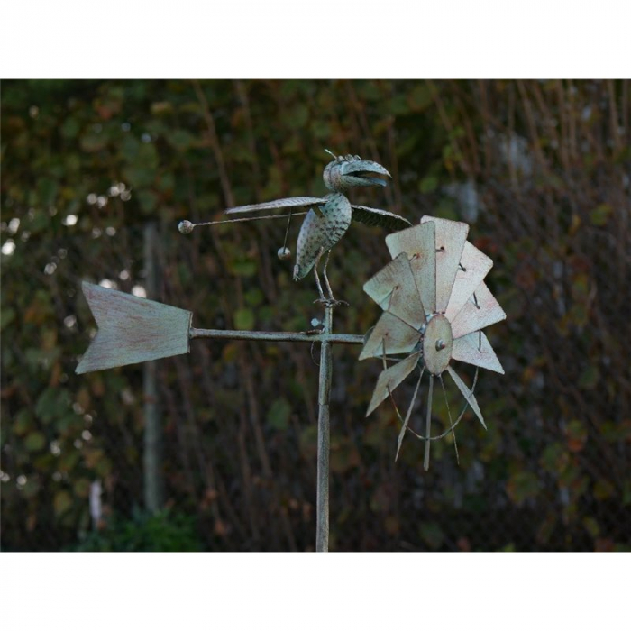 Figurina metal Windmill with bird 2, 147x45x65 cm 2021 lotusland.ro