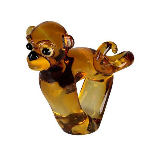 Figurina Monkey, sticla, maro, 10x19x18 cm 2021 lotusland.ro