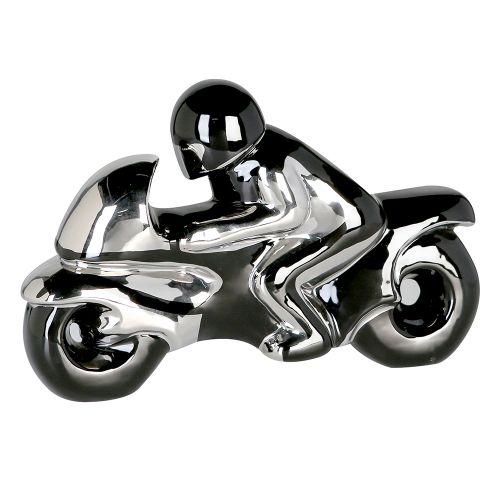 Figurina motorbike, ceramica, negru argintiu, 37x24 cm imagine 2021 lotusland.ro