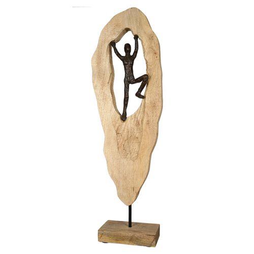 Figurina mountain climber, aluminiu lemn, bronz maro, 9x20x64 cm lotusland.ro