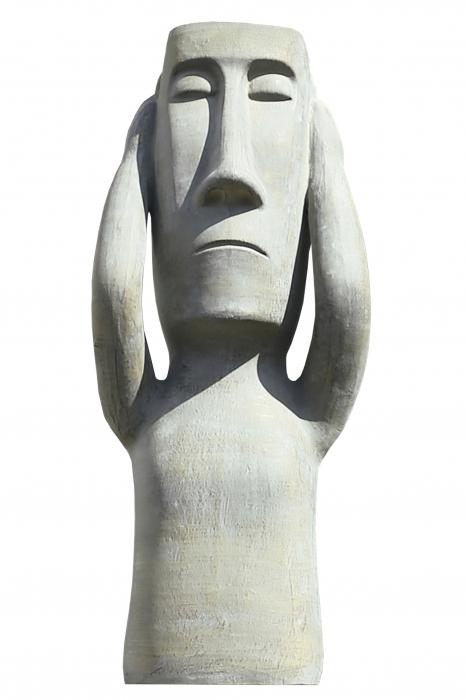 Figurina Nothing hear, ceramica, gri, 25x63x18 cm lotusland.ro