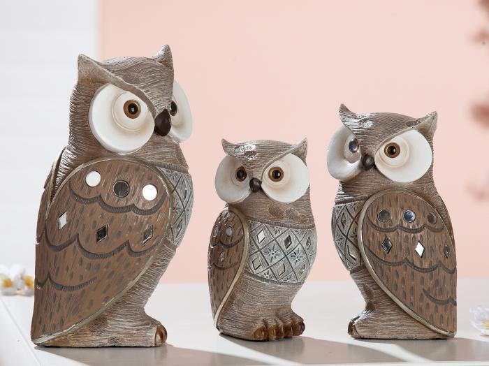 Figurina owl Goa, rasina, multicolor, 7x13x6.5 cm lotusland.ro