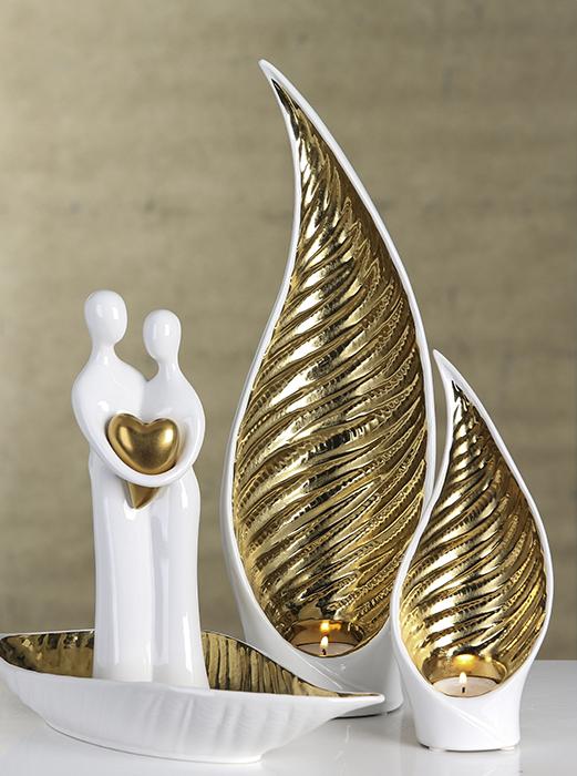 Figurina Paar ceramica, alb auriu mat, 25.5 cm 2021 lotusland.ro