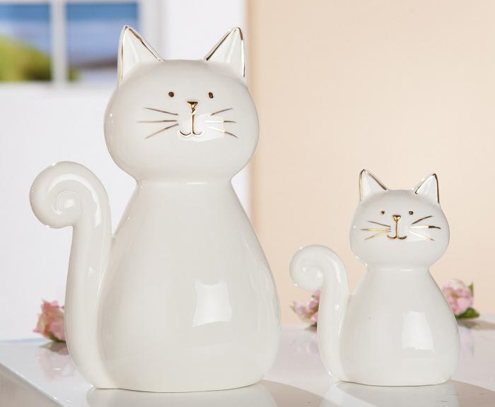 Figurina pisica Diana, portelan, alb, 10x12x6 cm 2021 lotusland.ro