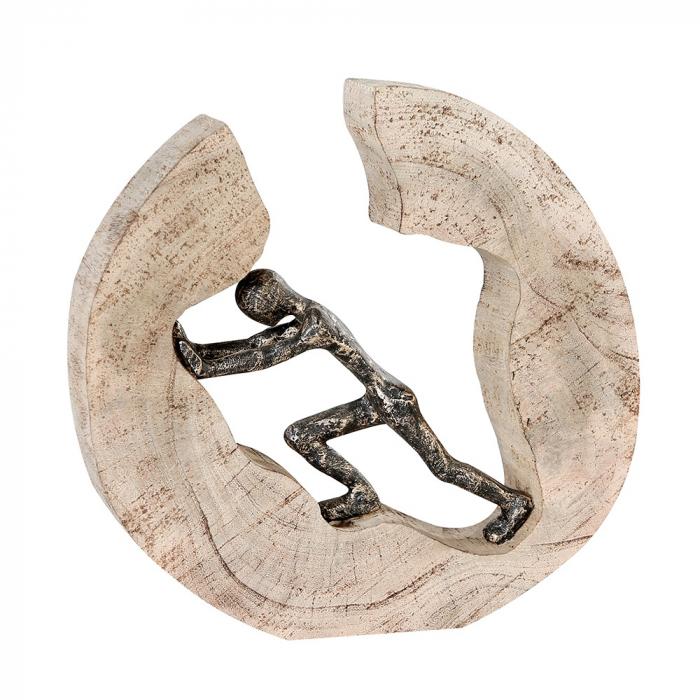 Figurina PUSHING, lemn/aluminiu, 29X28X6 cm 0