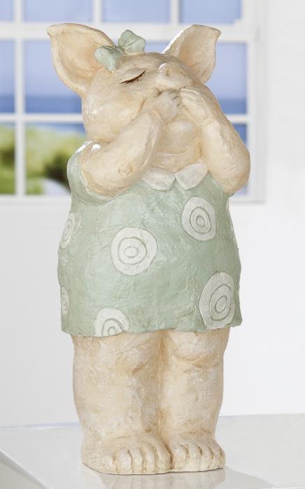 Figurina Rosalie, rasina, bej verde, 14.5x33x11 cm lotusland.ro