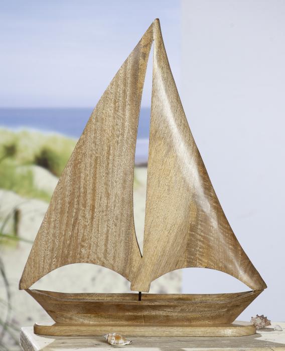 Figurina Sailing Boat, lemn, maro, 45x60x10 cm lotusland.ro