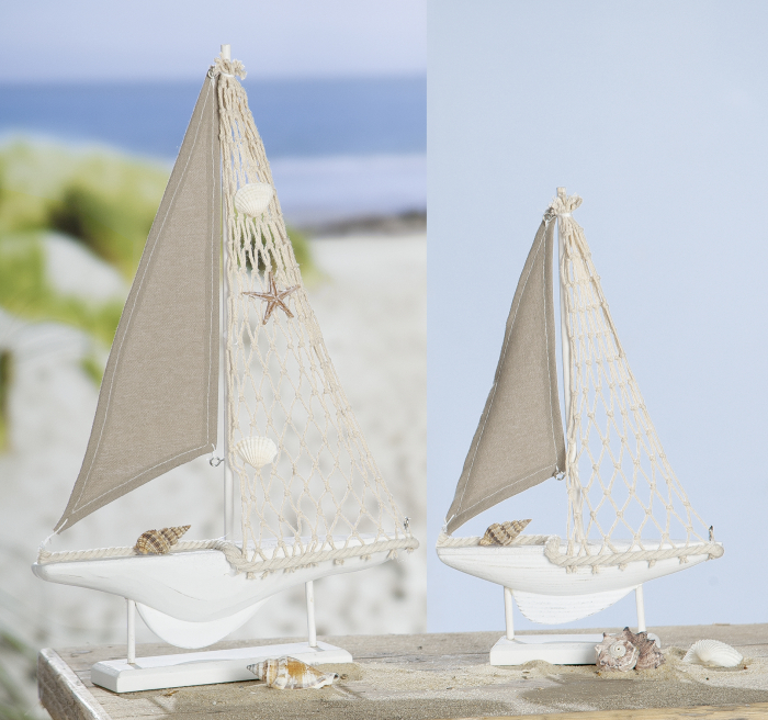 Figurina Sailing Boat, MDF, alb crem, 17.5x31x5 cm 2021 lotusland.ro