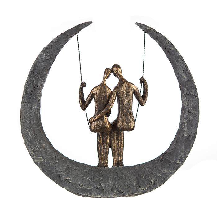 Figurina Swing rasina metal, bronz argintiu, 30x32x9 cm lotusland.ro