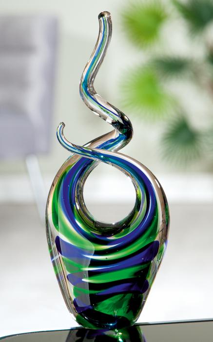 Figurina Swirl, sticla, albastru verde, 10.5x25x5.5 cm imagine 2021 lotusland.ro