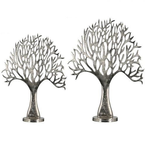 Figurina tree, aluminiu, argintiu, 45x45x62 cm lotusland.ro