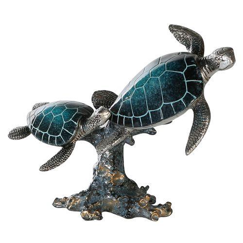 Figurina turtle on stone Josie, rasina, albastru argintiu, 12x24x19 cm lotusland.ro