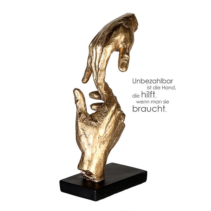 Figurina TWO HANDS rasina, auriu negru, 29x13.5x8 cm lotusland.ro