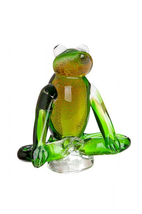 Figurina Yoga-Frog, sticla, verde, 16,5x7,5x17 cm lotusland.ro