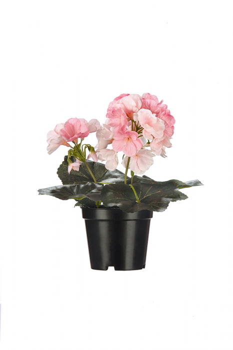 Floare artificiala la ghiveci, fibre sintetice, roz, 21 cm
