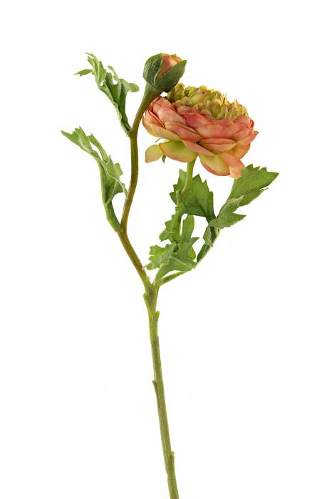 Floare artificiala Ranunkel, Fibre artificiale, Portocaliu/Verde, 5x46 cm [0]