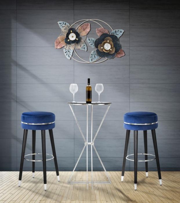 Scaun de bar PARIS albastru argintiu (cm) O 35X74 2021 lotusland.ro