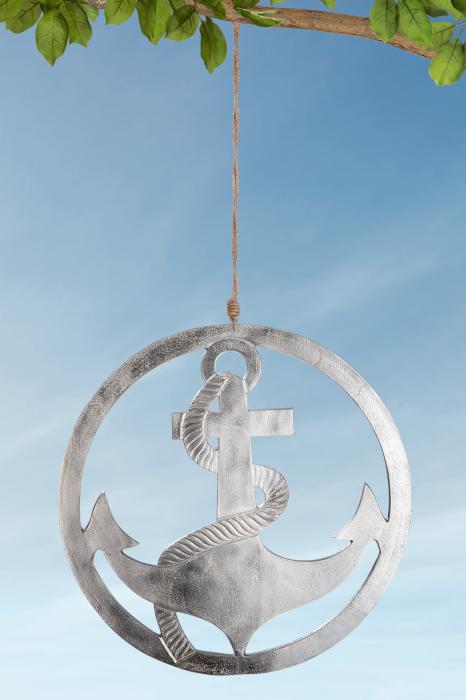 Ghirlanda Anchor in Circle, aluminiu, argintiu, 40 cm lotusland.ro