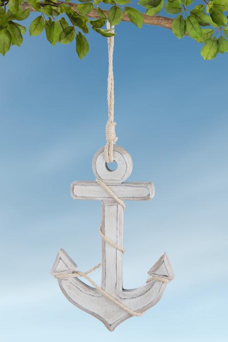 Ghirlanda anchor Marina, MDF, alb, 12.5x29x1.5 cm 2021 lotusland.ro