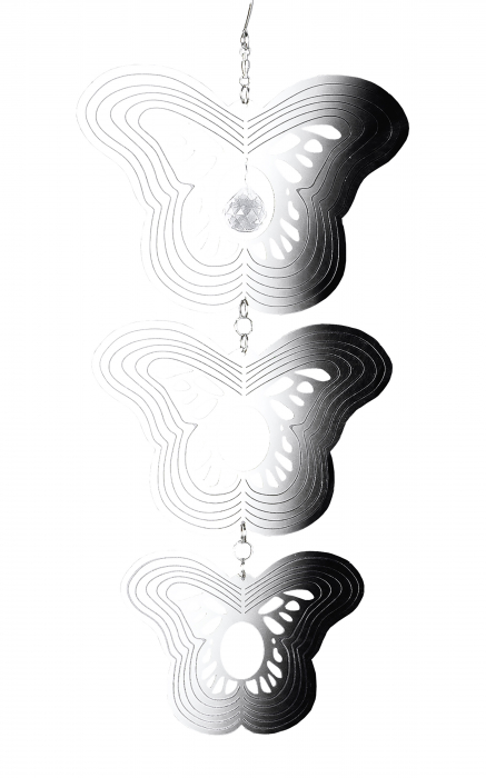 Ghirlanda Butterfly, otel, argintiu, 17x36x2 cm 2021 lotusland.ro