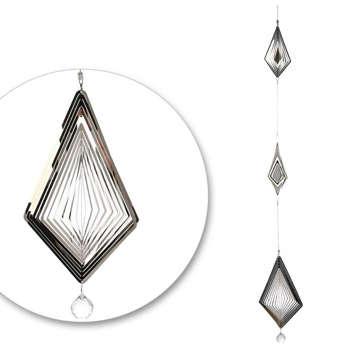 Ghirlanda Crystal Diamonds, otel inoxidabil, argintiu, 14x120 cm lotusland.ro