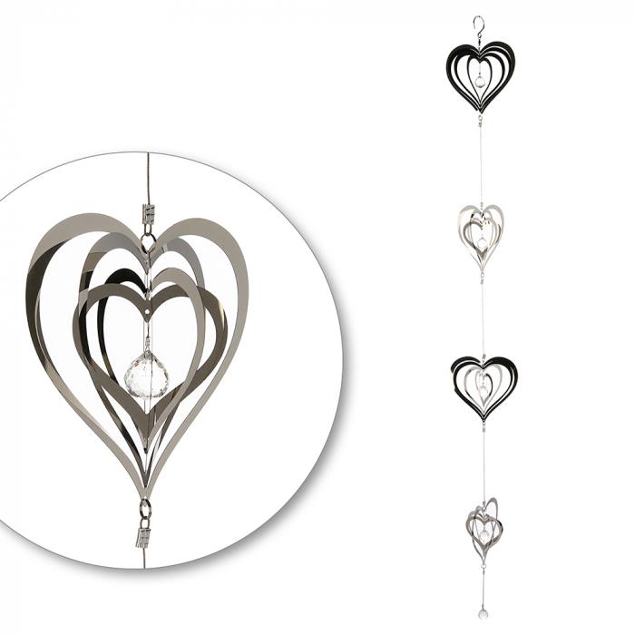 Ghirlanda Crystal Love, otel inoxidabil, argintiu, 14x120 cm imagine 2021 lotusland.ro