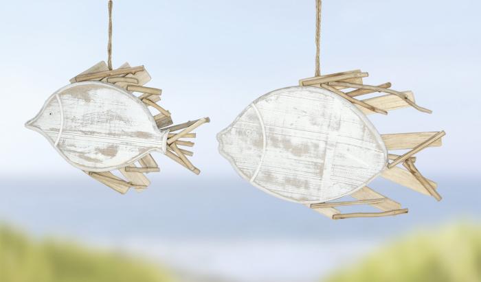 Ghirlanda Fish, lemn, maro alb, 37.5x34x2 cm 2021 lotusland.ro