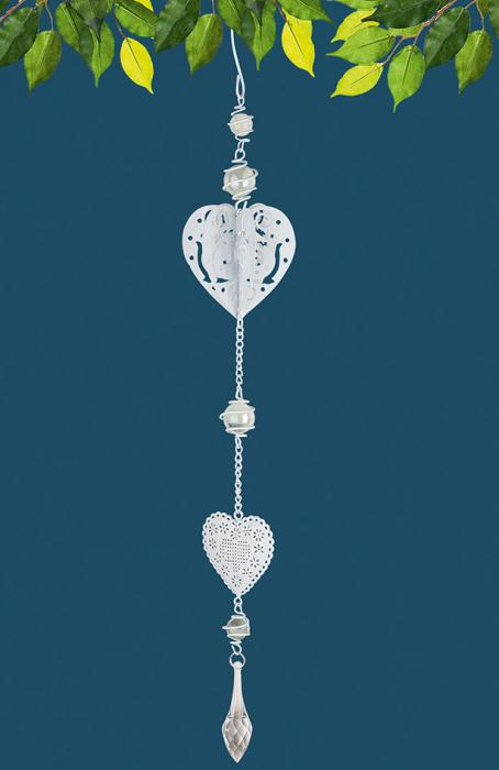 Ghirlanda Heart 3D, metal, argintiu, 7.5x49x7.5 cm imagine 2021 lotusland.ro