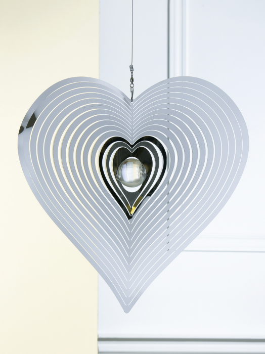 Ghirlanda Heart, otel, argintiu, 40x90x2 cm lotusland.ro
