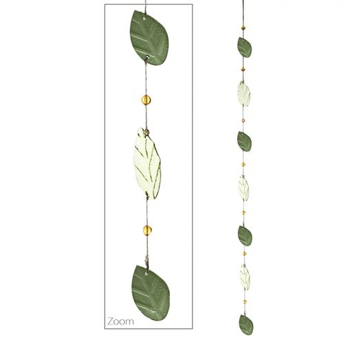Ghirlanda Leaves, sticla, verde, 150 cm imagine 2021 lotusland.ro