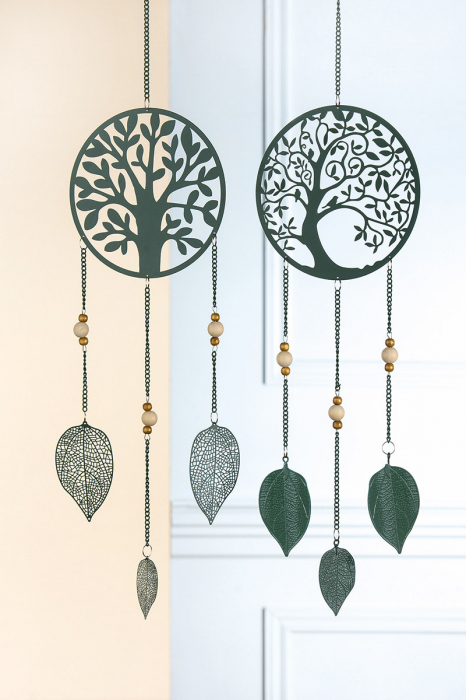 Set 2 ghirlande TREE OF LIFE, metal, 80x18 cm 2021 lotusland.ro