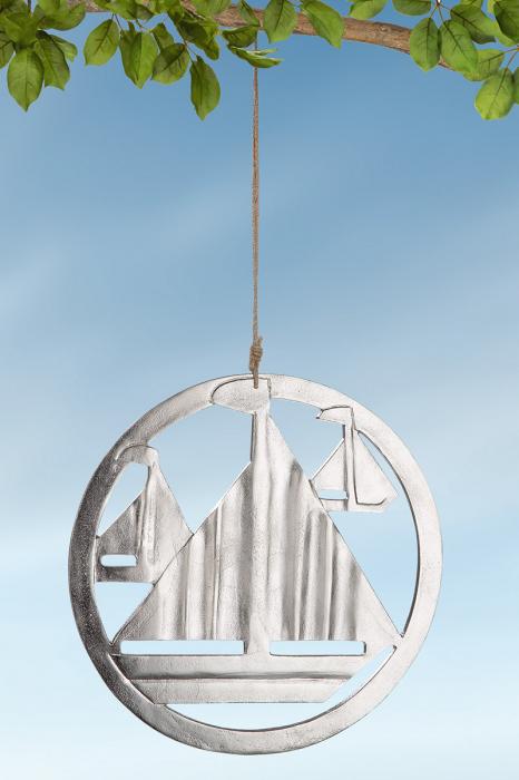 Ghirlanda Ship in Circle, aluminiu, argintiu, 0x40 cm imagine 2021 lotusland.ro