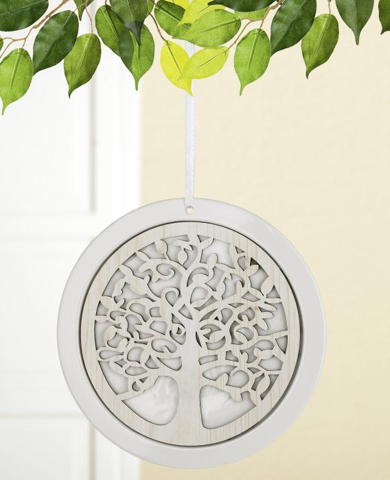 Ghirlanda Tree of Life, portelan, alb, 26x1x14.5 cm 2021 lotusland.ro
