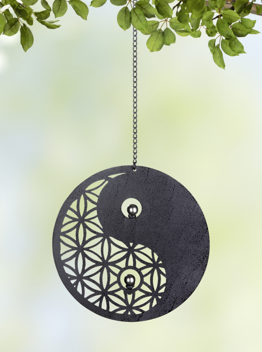 Ghirlanda Yin Yang, metal, gri, 60x1.5x20 cm lotusland.ro