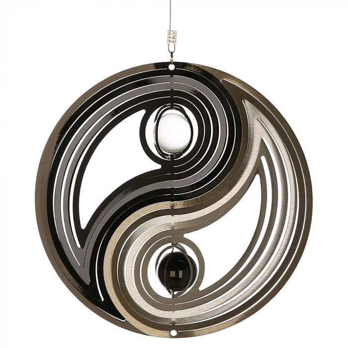 Ghirlanda Yin-Yang, otel inoxidabil, negru argintiu, 77x25 cm lotusland.ro