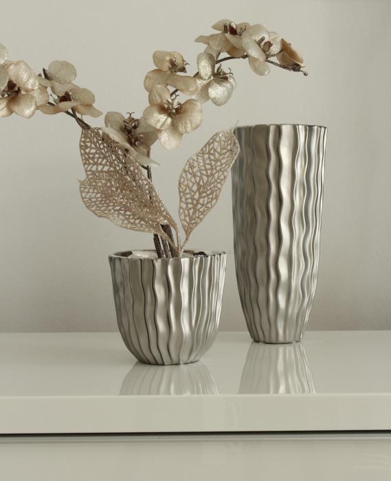 Ghiveci Cantus, ceramica, argintiu, 14x4x13 cm lotusland.ro