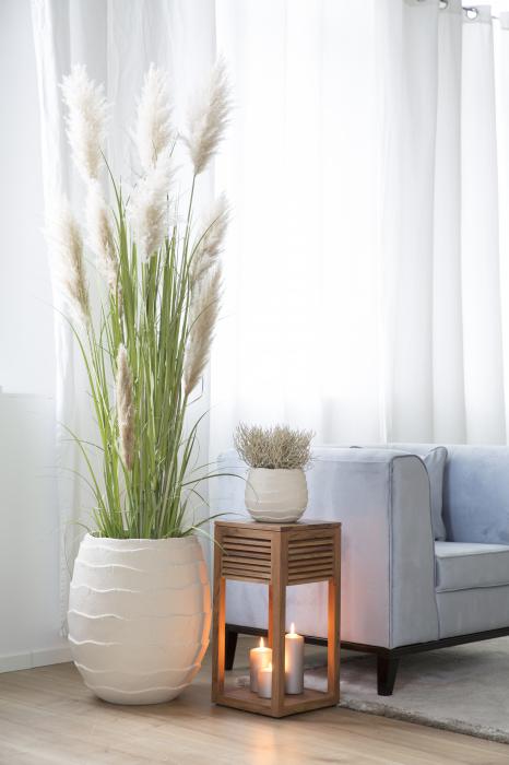 Ghiveci Cocon, Pigmenti de culoare Fibre Calcar, Crem, 17.50x22 cm lotusland.ro