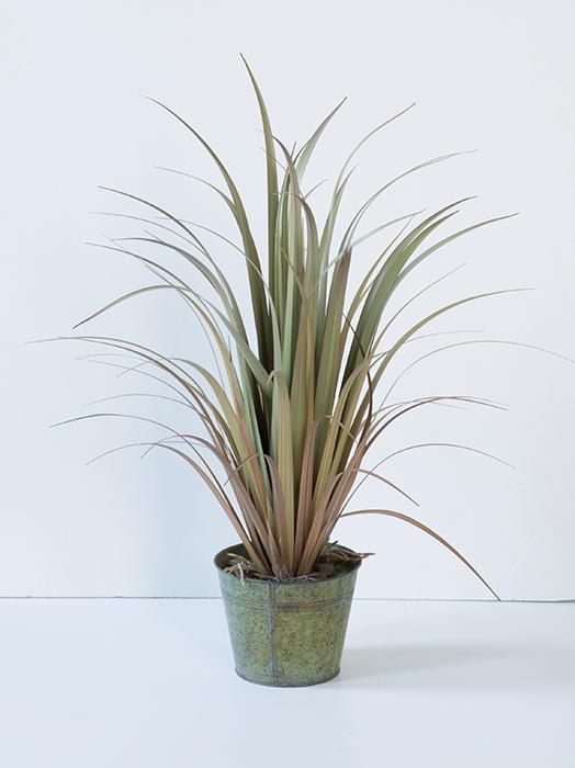 Ghiveci cu floare artificiala Grass, Plastic Fibre artificiale, Maro Verde, 90 cm 2021 lotusland.ro
