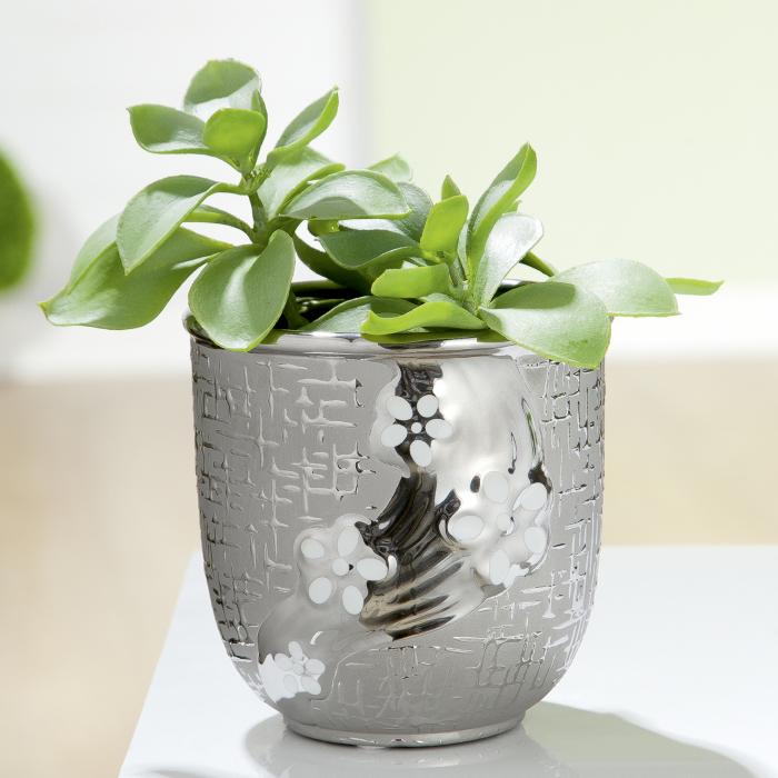 Ghiveci Daisy, ceramica, argintiu, 13x13x13 cm 0