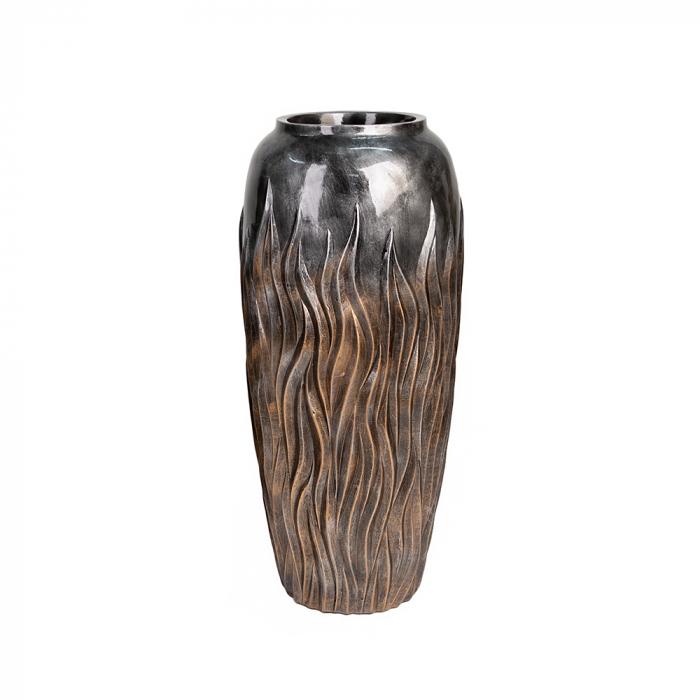 Ghiveci Flame, rasina compozit, gri, 90x38 cm imagine 2021 lotusland.ro