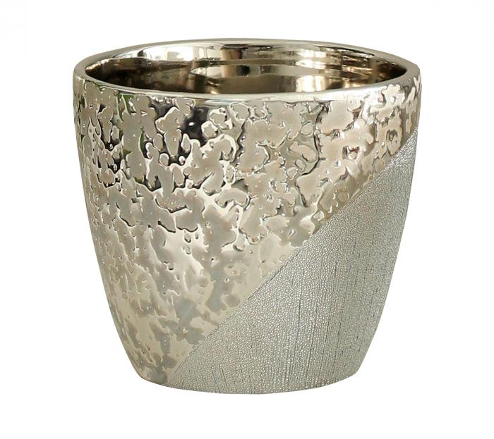 Ghiveci Grace, ceramica, bej/argintiu, 14x14x12 cm 0