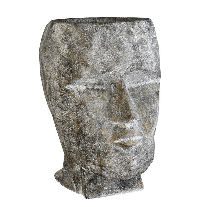 Ghiveci Head, compozit, gri, 49x71x65 cm imagine 2021 lotusland.ro