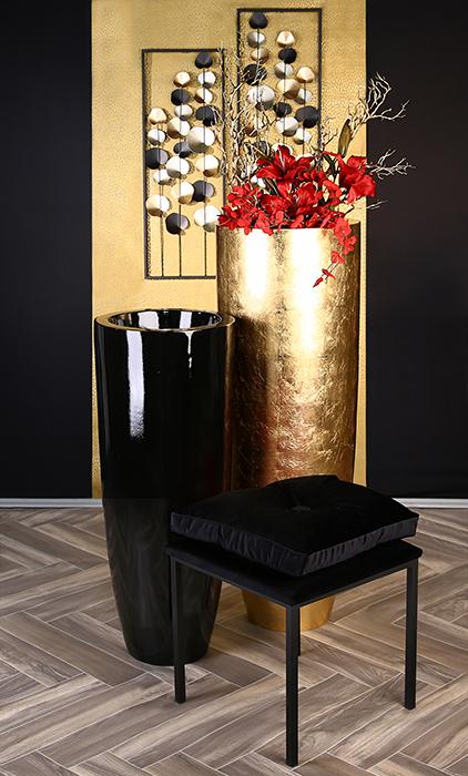 Ghiveci KONUS, compozit, negru, 92x36 cm 5