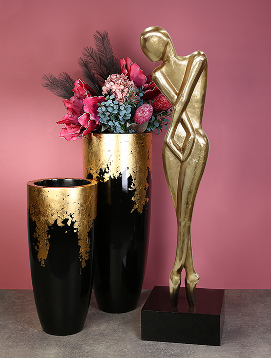 Vaza/Ghiveci Konus, rasina/fibra de sticla, auriu/negru, 100x39 cm 3