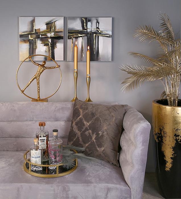 Vaza/Ghiveci Konus, rasina/fibra de sticla, auriu/negru, 100x39 cm 1