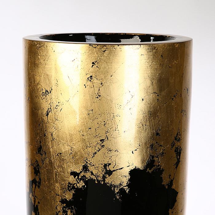 Vaza/Ghiveci Konus, rasina/fibra de sticla, auriu/negru, 100x39 cm 2