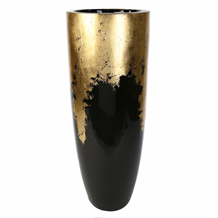 Vaza/Ghiveci Konus, rasina/fibra de sticla, auriu/negru, 100x39 cm 0