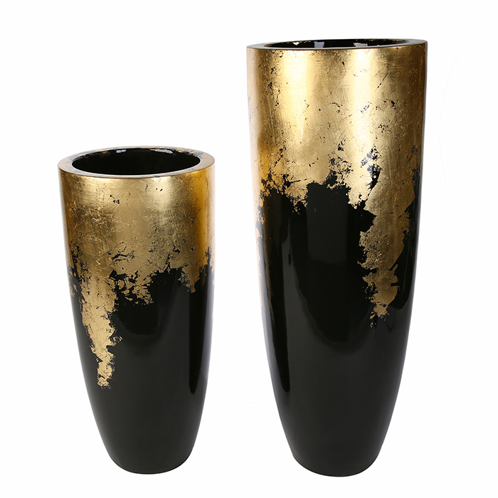 Vaza/Ghiveci Konus, rasina/fibra de sticla, auriu/negru, 100x39 cm 5