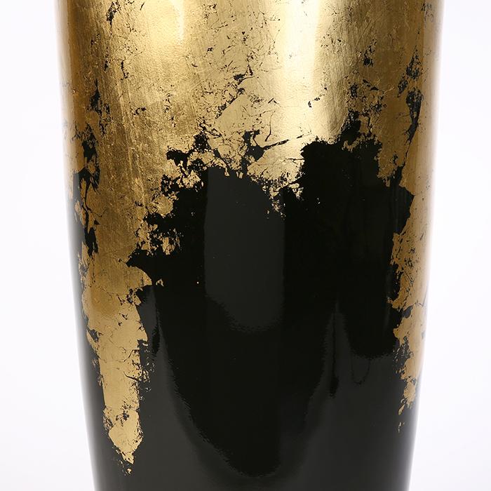 Vaza/Ghiveci Konus, rasina/fibra de sticla, auriu/negru, 100x39 cm 4