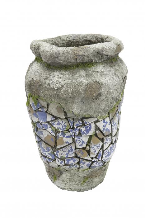 Ghiveci Mosaic, compozit, gri, 41x27 cm 0